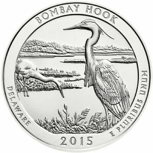 2015 BOMBAY HOOK AMERICA THE BEAUTIFUL 5 OZ .999 FINE SILVER QUARTER 5 OUNCE