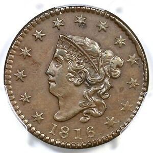 Click now to see the BUY IT NOW Price! 1816 N 3 R 4 PCGS AU 55 MATRON OR CORONET HEAD LARGE CENT COIN 1C