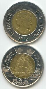 CANADA 2012   WAR OF 1812 SHIP TWO DOLLAR CANADIAN TOONIE $2 DOLLARS 2 COINS