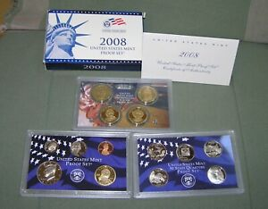 2008 US MINT  S  PROOF SET INCL. STATEHOOD QUARTERS & PRESIDENTIAL $1   14 COINS