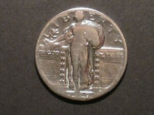 1929 US STANDING LIBERTY SILVER QUARTER DOLLAR   .900 SILVER   WORN