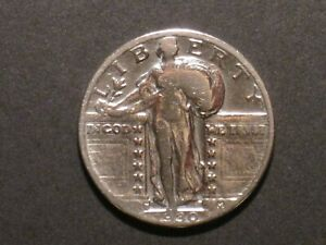 1930 S US STANDING LIBERTY SILVER QUARTER DOLLAR   .900 SILVER   WORN