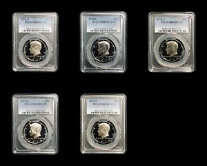 1974 S KENNEDY HALF DOLLAR PCGS PR69DCAM   5 SEQUENTIAL CERTIFICATE NUMBERED LOT