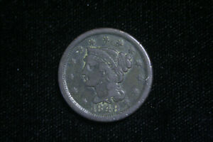 1848 LARGE CENT PENNY BRAIDED HAIR F FINE  US COIN