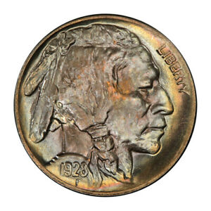 Click now to see the BUY IT NOW Price! 1928 D 5C BUFFALO NICKEL PCGS MS66  3148 16 PQ   COLOR  POP 6/1