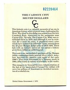 GSA CARD FOR 1882 CC CARSON CITY GSA DOLLAR NO. 82220464 ORIGINAL COA 99C SHIP