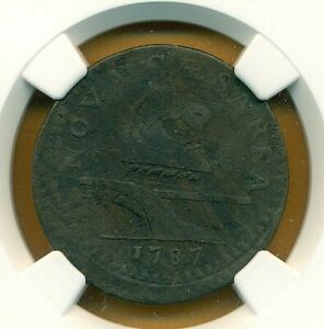 1787 NEW JERSEY NO PLOW SPRIG DOUBLE STRUCK NGC VF DETAILS ERROR COIN