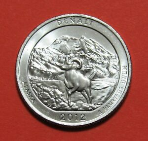2012 P 25C DENALI ALASKA NATIONAL PARKS AMERICA THE BEAUTIFUL QUARTER