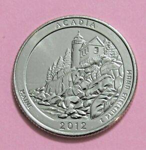 2012 S 25C ACADIA MAIN NATIONAL PARKS AMERICA THE BEAUTIFUL QUARTER
