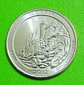 2012 D 25C ACADIA MAINE NATIONAL PARKS AMERICA THE BEAUTIFUL QUARTER