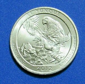 2012 P 25C EL YUNQUE PUERTO RICO NATIONAL PARKS AMERICA THE BEAUTIFUL QUARTER