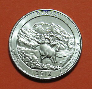 2012 D 25C DENALI ALASKA NATIONAL PARKS AMERICA THE BEAUTIFUL QUARTER