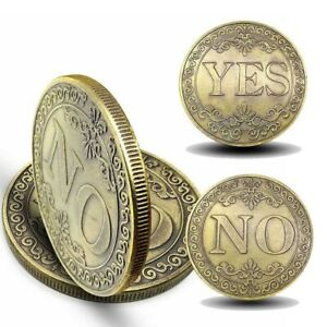 NEW 1X COLLECTION COIN THREE DIMENSIONAL YES OR NO EMBOSSED LUCKY GOLD COIN GIFT