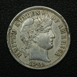 1901 S BARBER SILVER DIME   DAMAGED & CLEANED