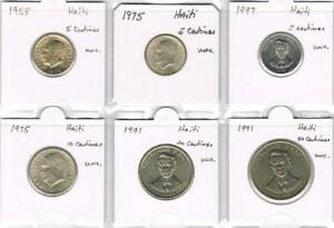 WORLD COINS   HAITI 1958 1991 6 COIN UNC. COLLECTION   REPUBLIC DECIMAL COINAGE
