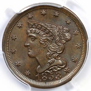 Click now to see the BUY IT NOW Price! 1853 C 1 PCGS MS 66 BN BRAIDED HAIR HALF CENT COIN 1/2
