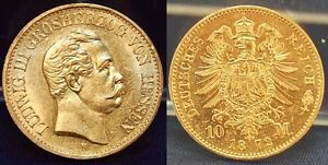 HESSE 10 MARK GOLD 1872 H SELTENES YEAR ALMOST MINT STATE WITH