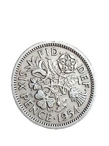 1954 GREAT BRITAIN 6 PENCE SIXPENCE QUEEN ELIZABETH II COLLECTABLE COIN 280320 2