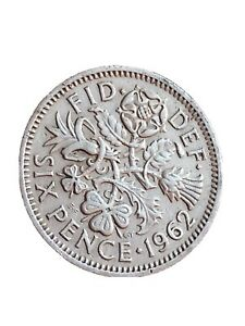 1962 GREAT BRITAIN 6 PENCE SIXPENCE QUEEN ELIZABETH II BRITISH COIN 280320 1