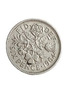 1964 GREAT BRITAIN 6 PENCE SIXPENCE QUEEN ELIZABETH II COLLECTABLE COIN 280320 1