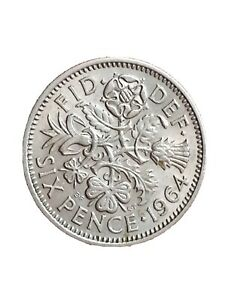 1964 GREAT BRITAIN 6 PENCE SIXPENCE QUEEN ELIZABETH II COLLECTABLE COIN 280320 2