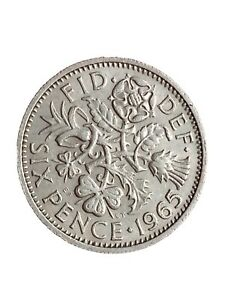 1965 GREAT BRITAIN 6 PENCE SIXPENCE QUEEN ELIZABETH II LUCKY COIN 280320