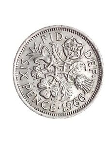 1966 GREAT BRITAIN 6 PENCE SIXPENCE QUEEN ELIZABETH II LUCKY COIN 280320 1