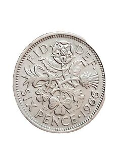 1966 GREAT BRITAIN 6 PENCE SIXPENCE QUEEN ELIZABETH II LUCKY COIN 280320 2