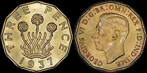 GREAT BRITAIN 3 PENCE 1937  AU/UNC   LIGHTLY TONED OBVERSE