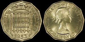 GREAT BRITAIN 3 PENCE 1953  CHOICE UNC   QEII CORONATION ISSUE