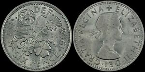 GREAT BRITAIN 6 PENCE 1966  UNC/BU   NICE COIN