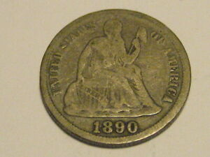 1890 P SEATED LIBERTY DIME VG 90  SILVER