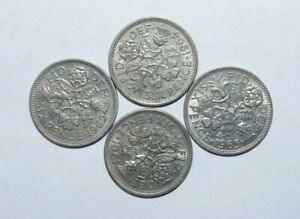 1961 1962 1964 & 1965 SIX PENCE GREAT BRITAIN A LOT OF 4 HIGH VALUE COINS