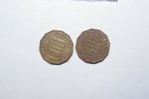1955 X 2 THREE PENCE GREAT BRITAIN A LOT OF 2 VALUE COINS