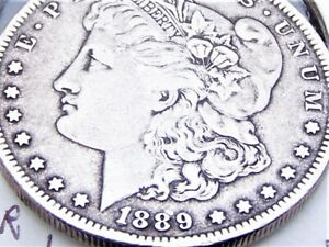 1889 O MORGAN SILVER DOLLAR VF ERROR DOUBLING ON 1 AND 8 IN DATE
