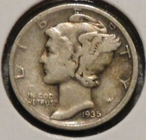 MERCURY SILVER DIME   1935 D   GOTTA SELL 'EM ALL    $1 UNLIMITED SHIPPING 042