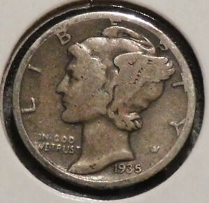MERCURY SILVER DIME   1935 S   GOTTA SELL 'EM ALL    $1 UNLIMITED SHIPPING 043