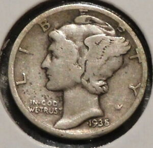 MERCURY SILVER DIME   1935 S   GOTTA SELL 'EM ALL    $1 UNLIMITED SHIPPING 045