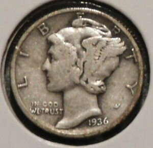 MERCURY SILVER DIME   1936 S   GOTTA SELL 'EM ALL    $1 UNLIMITED SHIPPING 051