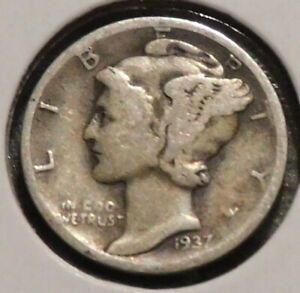 MERCURY SILVER DIME   1937 D   GOTTA SELL 'EM ALL    $1 UNLIMITED SHIPPING 055