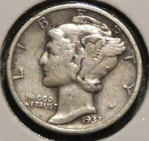 MERCURY SILVER DIME   1937 S   GOTTA SELL 'EM ALL    $1 UNLIMITED SHIPPING 057