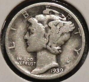 MERCURY SILVER DIME   1939 D   GOTTA SELL 'EM ALL    $1 UNLIMITED SHIPPING 068