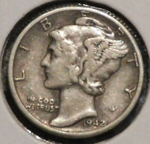 MERCURY SILVER DIME   1942 D   GOTTA SELL 'EM ALL    $1 UNLIMITED SHIPPING 089