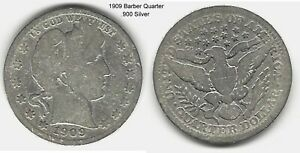 US 1909 BARBER QUARTER .900 SILVER TAKE A LOOK
