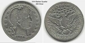 US 1914 BARBER QUARTER .900 SILVER TAKE A LOOK