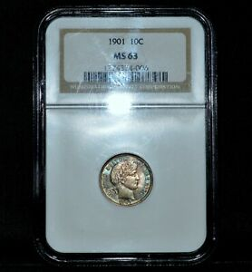 1901 P BARBER DIME  NGC MS 63  10C SILVER LIBERTY UNCIRCULATED CH BU TRUSTED
