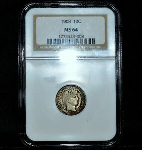 1908 P BARBER DIME  NGC MS 64  10C SILVER LIBERTY UNCIRCULATED CH BU TRUSTED