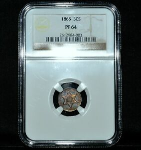 1865 SILVER 3 CENT PIECE  NGC PF 64  3C 3CS PROOF RAINBOW TONED TONE TRUSTED