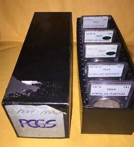 5 EA PCGS SILVER TRADE DOLLARS   BLACK PCGS BOX: 1874P 1874S 1875S 1876S 1877S