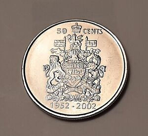 2002 P CANADA 50 CENTS COIN QUEEN ELIZABETH II 50 YEARS ASCENSION TO THE THRONE